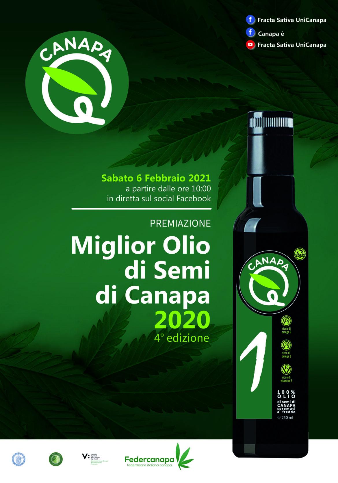 """Premiazione della IV Edizione del Concorso """"Canapa è"""" per il miglior olio di semi di canapa"""