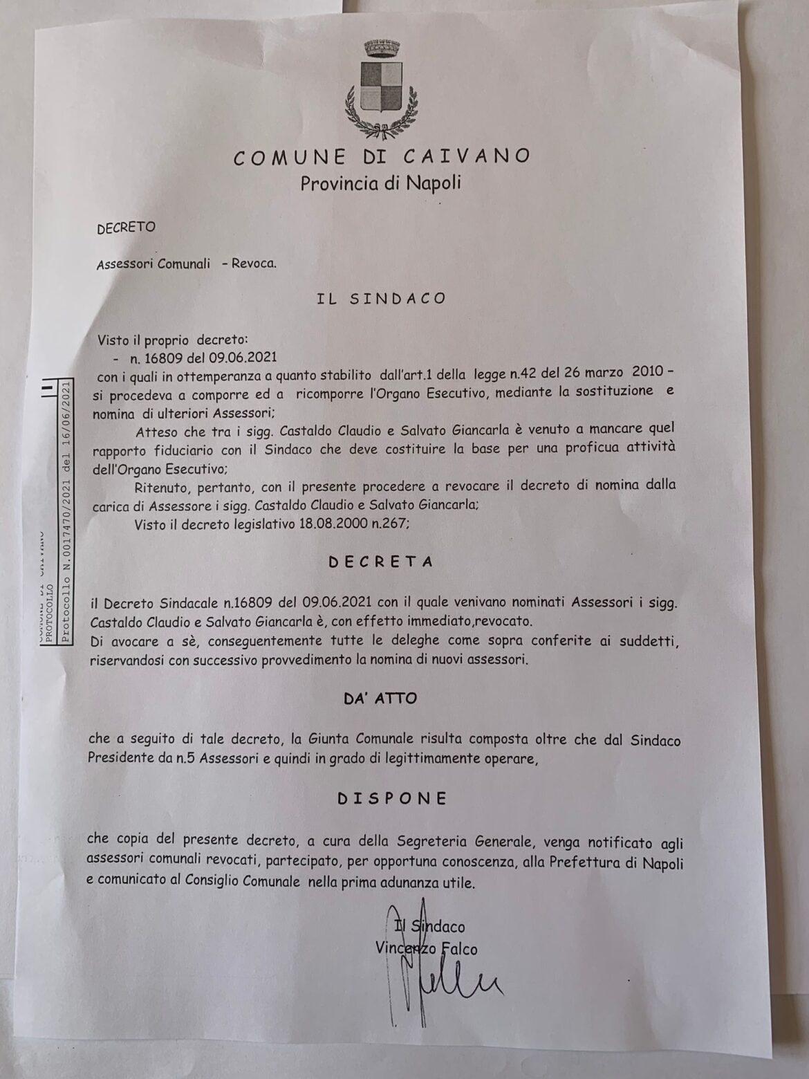 """Caivano, il sindaco dimissionario revoca gli assessori in quota """"Noi Campani"""""""
